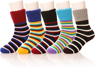 Kids Girls Boy Thermal Thick Socks Winter Soft Wool Warm Cotton Children Toddler Crew Socks 6 Pairs