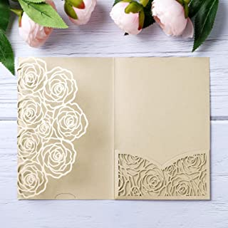 20 Pieces Laser Cut Wedding Invitations Card Pocket for Birthday Party Baby or Bride Shower Invite Suitable for 5 * 7 Inches Insert Paper (Ivory)