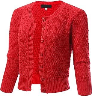 Women's Button Down 3/4 Sleeve Cropped Knit Cardigan Crochet Sweater (S-3XL)