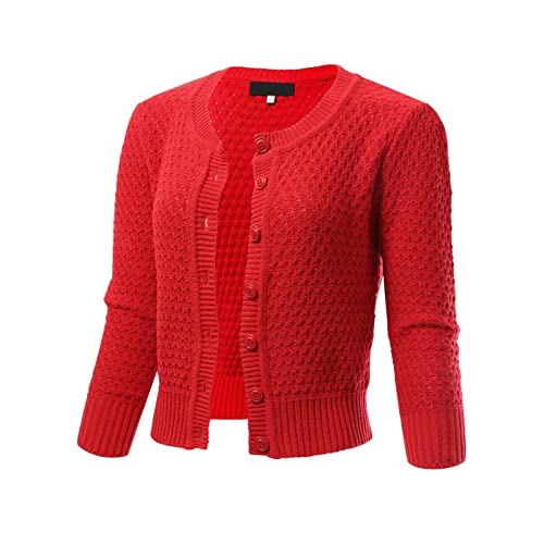 ARC Studio Womens Button Down 3 4 Sleeve Cropped Knit Cardigan Crochet  Sweater (S a5c588442