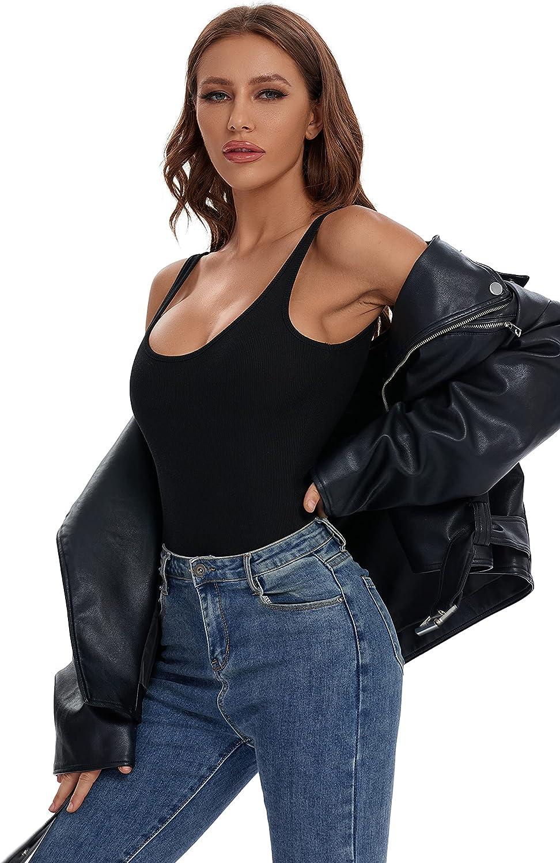 Bodysuit Tops for Women Scoop Neck Sexy Racerback Leotard Jumpsuit Sleeveless Cami