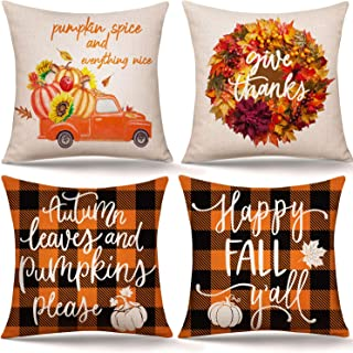 Whaline 4Pcs Fall Pillow Covers Autumn Leaves Pumpkins Pillow Cases Orange Black Plaid Throw Cushion Cover Harvest Linen Cushion Case for Thanksgiving Sofa Couch Bedroom Home Office Decor, 18 x 18