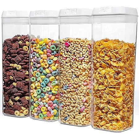 NUMYTON Boîtes Hermetique Alimentaire, Ensemble de Conservation Alimentaire Sèche sans BPA pour Spaghetti, Pâtes, Epices, Bonbons, Biscuits et Farines, 4PCS
