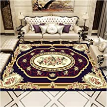 Traditional Distressed Yellow Golden red Rug Boho Living Room Lounge Bedroom Area Rugs pad (Color : E, Size : 40x60cm)