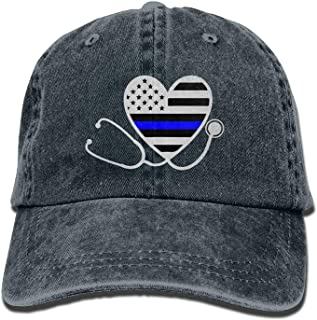 Unisex Adult Nurses Police Wife Thin Blue Line Flag Distressed Cotton Denim Baseball Cap Hat