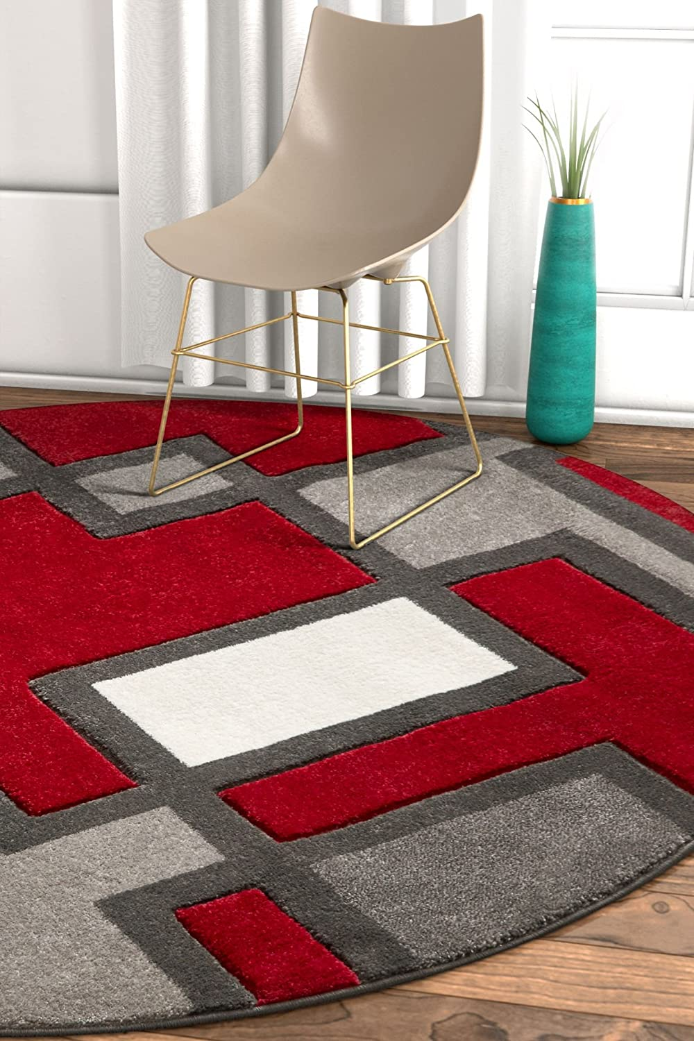 Uptown Squares Red Grey Modern Geometric Comfy Casual Hand Carved 5 Round (5'3