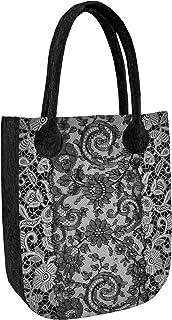 Arco Design Bertoni Handtasche Damen Shopper aus Filz mit Reißverschluss Innentaschen lässig modisch mit Muster Filztasche...