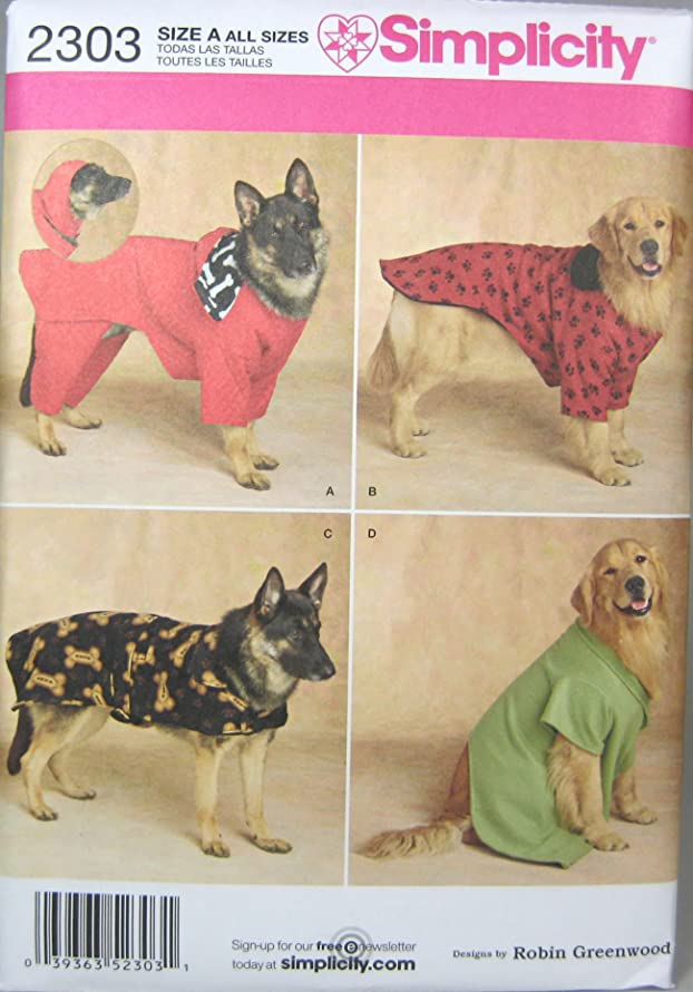 Simplicity sewing pattern 2303: Dog Clothes. For large and extra large dogs.