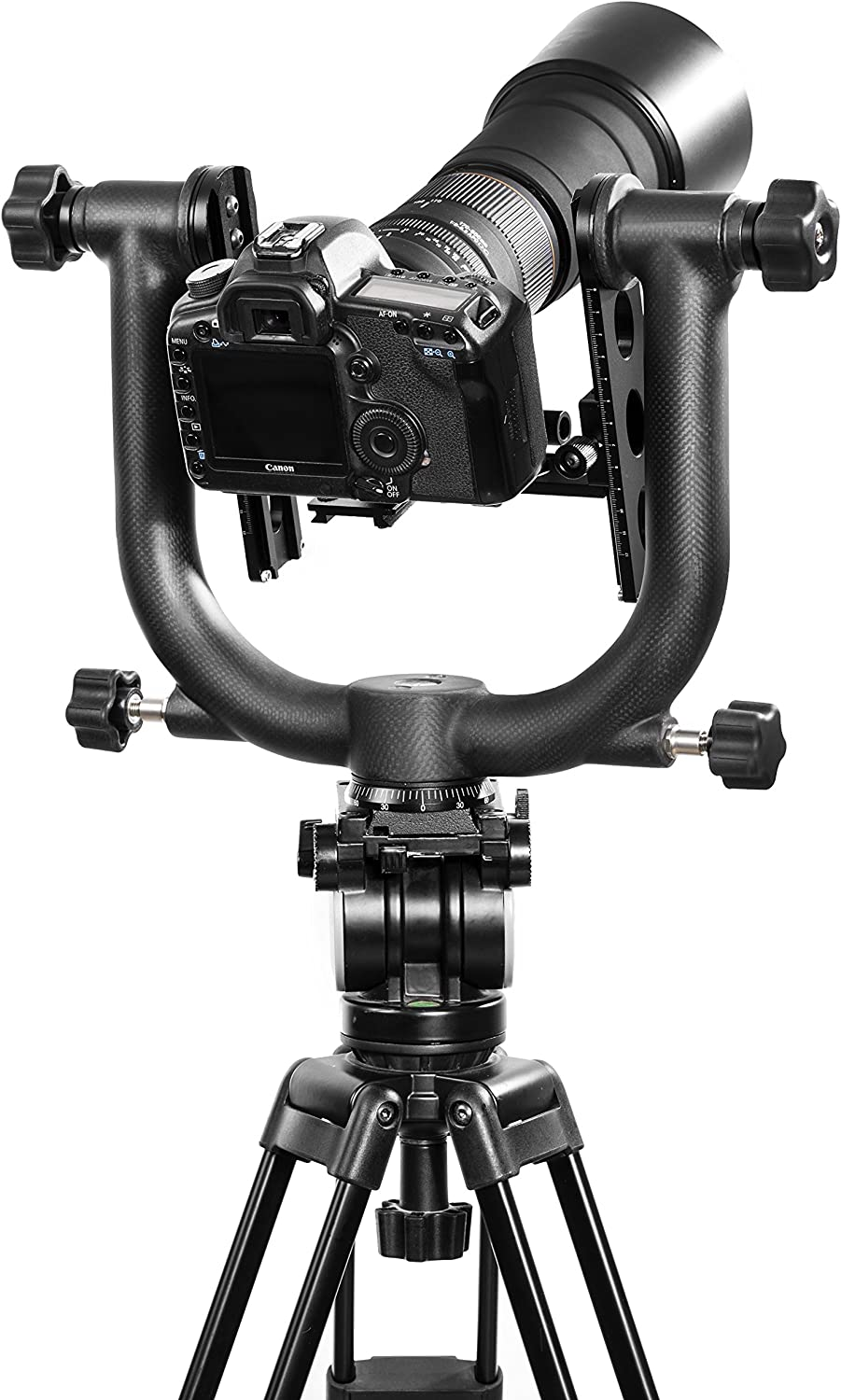 Movo GH1000 Heavy-Duty Carbon Fiber Double Gimbal Tripod Head with Arca-Swiss Quick-Release Plate