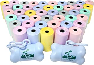 Downtown Pet Supply Dog Pet Waste Poop Bags with 2 Leash Clips and Dispensers (1000 Bags, Pastel Rainbow)
