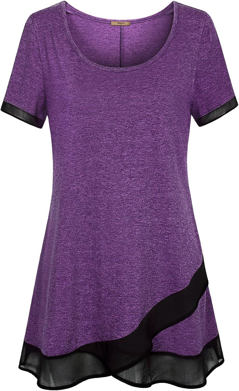 Miusey Womens Short Sleeve Scoop Neck Shirts Asymmetrical Splicing Tunic Tops