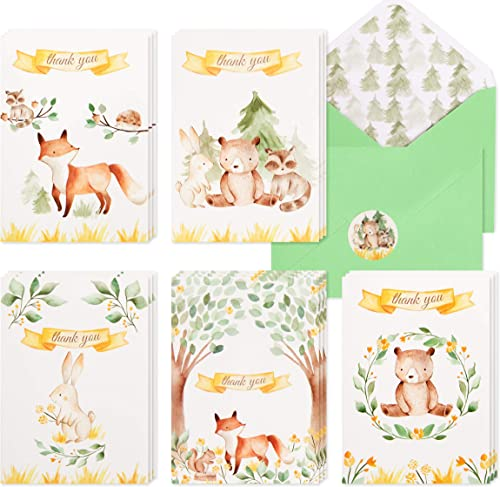 30 Woodland Thank You Cards | Bulk Forest & Mountain Animals Thank You Notes with Matching Green Envelopes & Stickers...