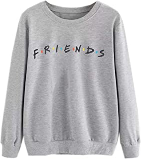 Women's Sweatshirt Letter Print Long Sleeve Loose Cotton Pullover Shirt Top