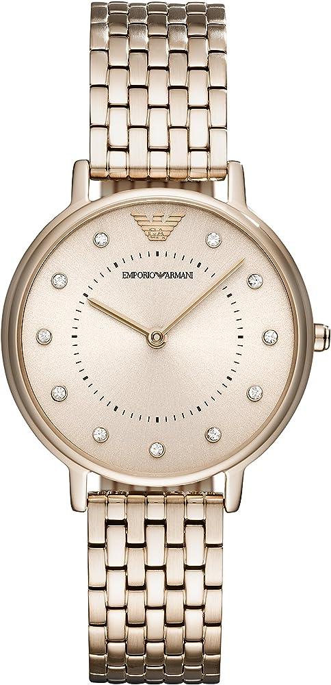 Emporio armani,orologio da donna,in acciaio inossidabile e cristalli AR11062