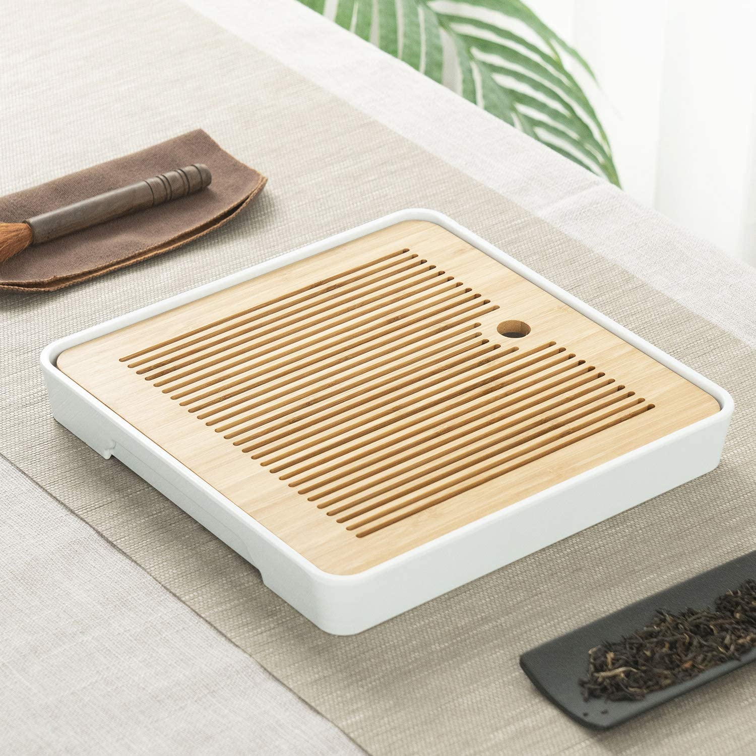 11 Inch Bamboo Chinese Gongfu Tea Table Tray Bargain Box Stor Water With Import