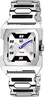 MKStone Silver Analog Square Dial Watch for Men & Boys - MK-222