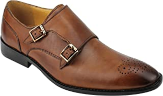 Xposed Mens Real Leather Brown MOD Double Monk Strap Brogues Classic Formal Shoes