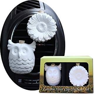 Sponsored Ad - Ceramic Car Freshener Vent Clip Essential Oil Diffuser Set (Owl & Sunflower)