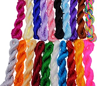 Pamir Tong Full-Colors 20bundles 300 Yards 1.5mm Satin/Rattail Silk Cord for Necklace Bracelet Beading Cord (Type 01)