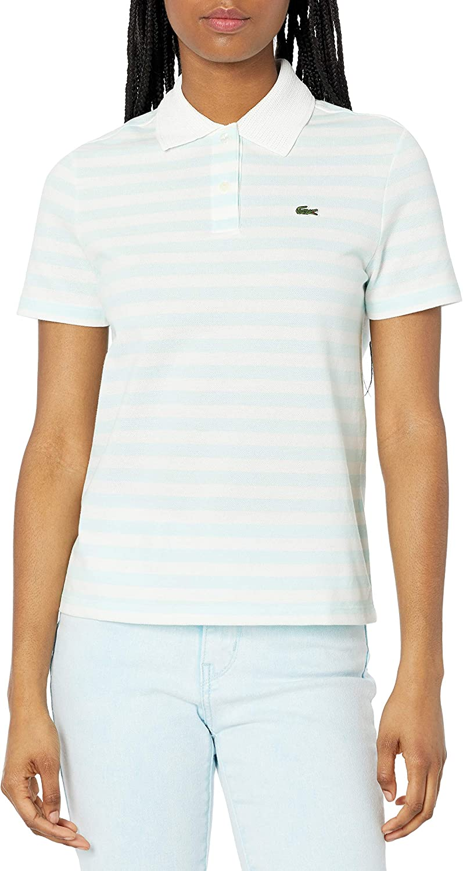 Lacoste Women's Short Sleeve Regular Fit Striped Polo Shirt