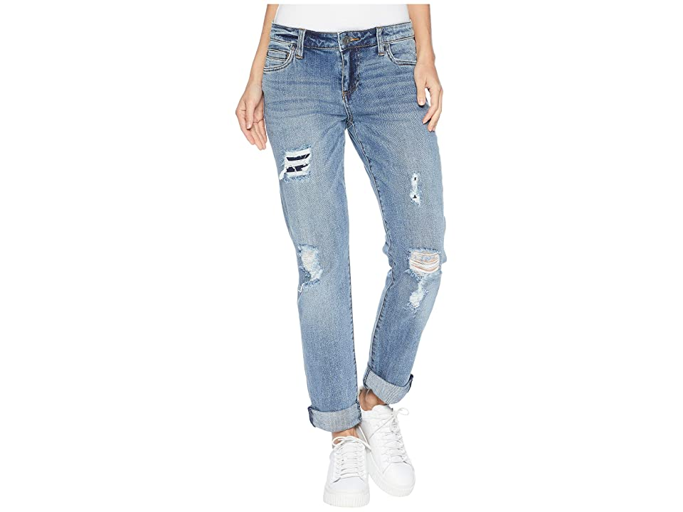 KUT from the Kloth Catherine Boyriend Cut Out Back Pocket Jeans in Excellent (Excellent/Medium Base Wash) Women