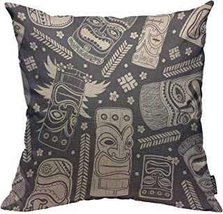 Mugod Aloha Tiki Throw Pillow Cover Vintage Aloha Tiki Seamless Pattern for Your Business Decorative Square Pillow Case for Home Bedroom Living Room Cushion Cover 18x18 Inch
