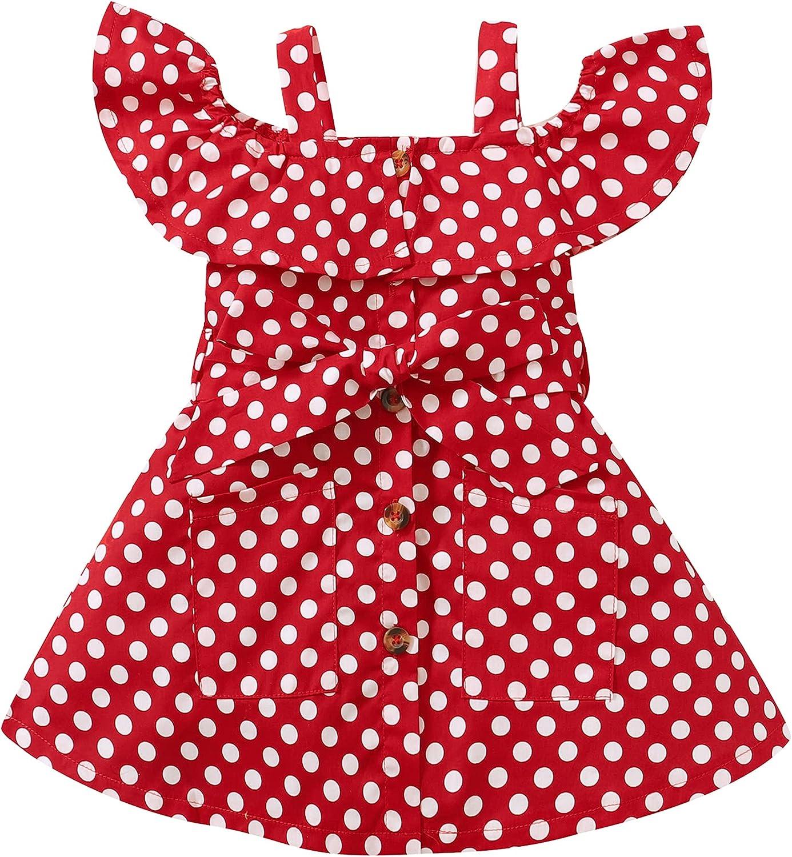 SUNNY PIGGY Kids Toddler Girls Dresses Polka Dot Little Girls Dresses Summer Overall Sundress Sisters Outfits