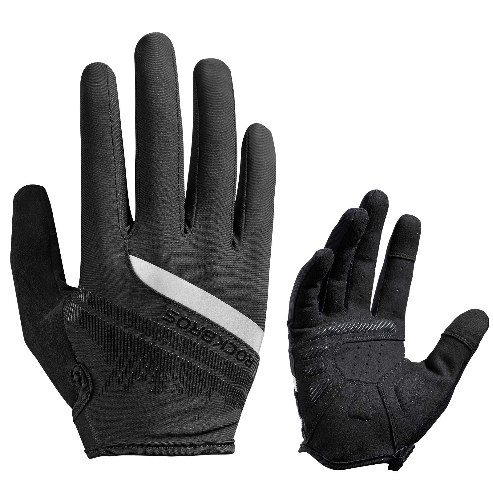 ROCKBROS Bike Gloves Mens Cycling Gloves Touch Screen Anti-Slip MTB Road Biking Gloves Breathable Full Finger Bicycle Gloves for Outdoor Sports
