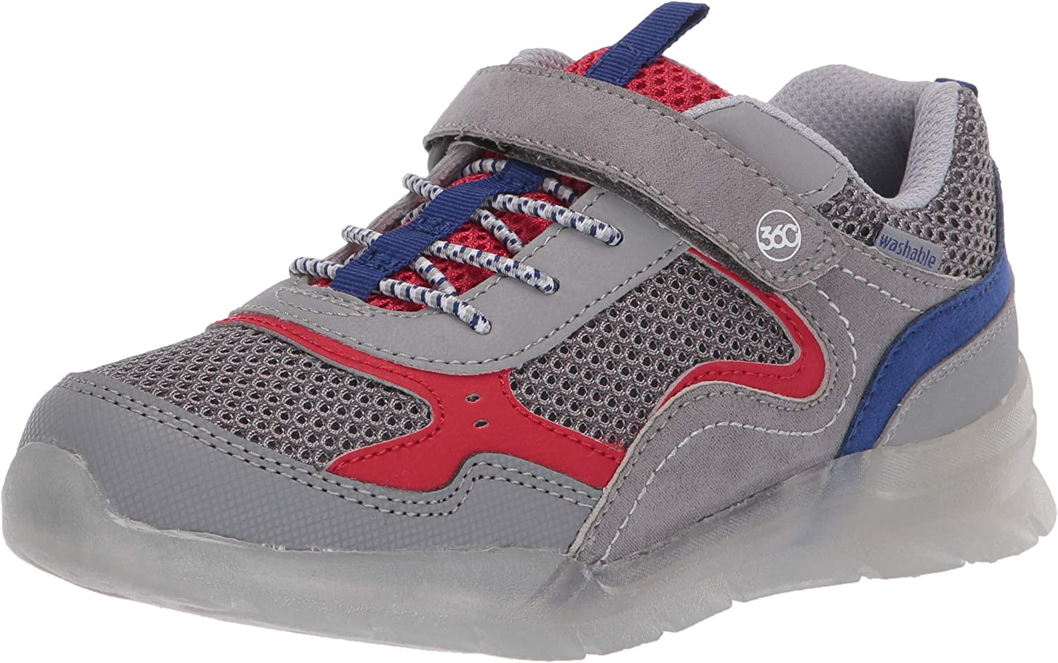 Stride Rite 360 Boy's Marcel Anti-Microbial Dual Width Insole Lighted Athletic Shoe, Grey, 7.5 M US Big Kid