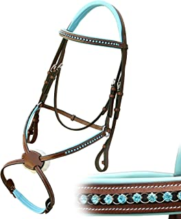 Exion Blue Round Ring Diamond Figure 8 Leather Bridle with PP Rubber Grip Reins and Stainless Steel Buckles | Equestrian Show Jumping Padded Bridle Set | English Horse Riding Tack | Conker | Full