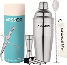 ARSSOO Silver Cocktail Shaker Set - Stainless Steel Bartender Kit with 750ml Martini Shaker, 25/50ml Jigger, 2 Pourers, Co...