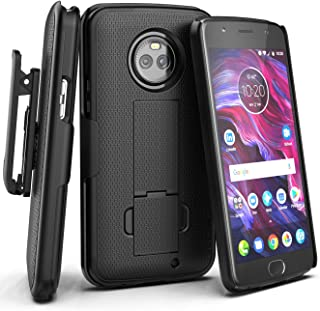 Encased Moto X4 Belt Clip Case, [DuraClip] Slim Fit Holster Shell Combo (w/Rubberized Grip Finish) for Motorola Moto X4-2017 Release (Smooth Black)