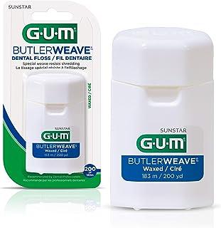 GUM ButlerWeave Waxed Dental String Floss, Resists Shredding, 183m