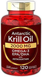 Antarctic Krill Oil 2000 mg 120 Softgels | Omega-3 EPA, DHA, with Astaxanthin Supplement Sourced from Red Krill | Maximum Strength | Laboratory Tested