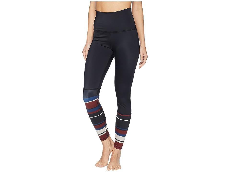 Beyond Yoga Arlington High-Waisted Midi Leggings (Black-Fallen Stripe) Women