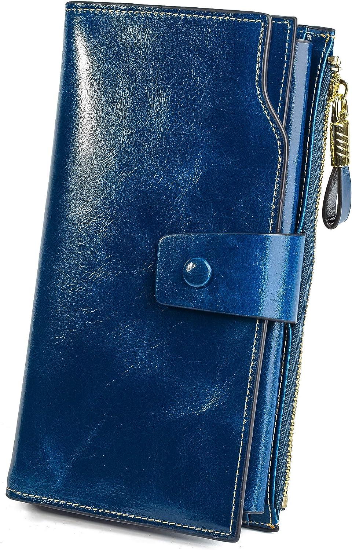 YALUXE Women's Wax Genuine Leather RFID Blocking Large Capacity Luxury Clutch Wallet Card Holder Organizer Ladies Purse Wallets for women Blue