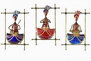 Handicrafts House Metal Framed Antique Sardar Musician Set Wall Hanging 16 Inch Art Sculpture Figurine Decorative Showpiec...