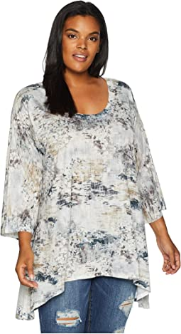 Plus Size Grey Abstract Print Tunic