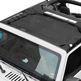 Voodonala Durable Mesh Sunshade Top Cover Provides UV Sun Protection 2007-2017 Jeep Wrangler JK (Black-2)