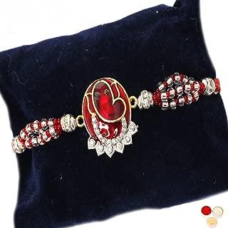 Ghasitaram Gifts Rakhi Gifts Rakhi for Brother Rakhis Online - 7317 Red Sapphire Ganesha Rakhi
