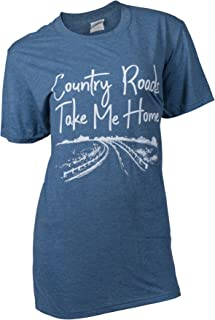 SC Soft Country Roads Take Me Home Front Print Classic Fit Adult T-Shirt - Heather Indigo