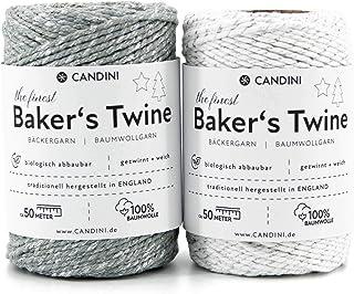 Candini Bäckergarn Silber Set | 2 x 50m | Silber & weiß | weiches Bastelgarn aus Baumwolle - Premium Qualität aus England - Bakers Twine, Bastelschnur, Baumwollschnur, Geschenkband