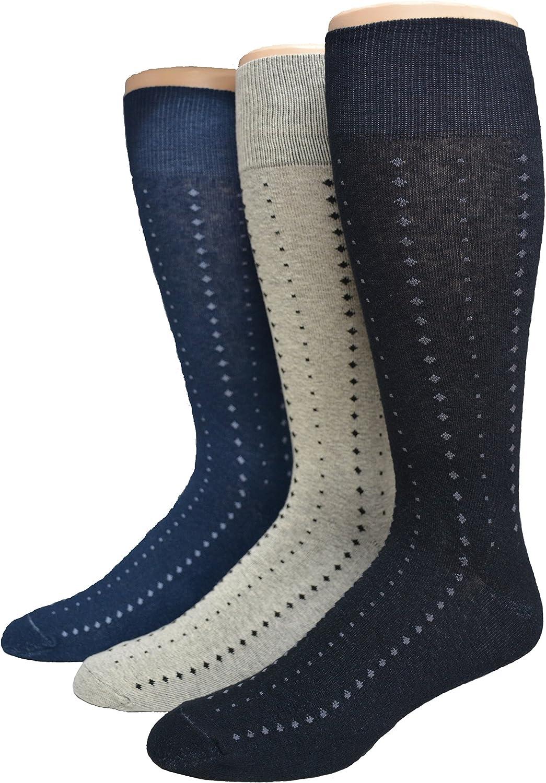 Men's Big & Tall Pattern Dress Sock Asst. - 3pr pack - Black, Navy, Khaki