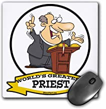 3dRose Funny Worlds Greatest Priest Men Cartoon Mouse Pad, 8