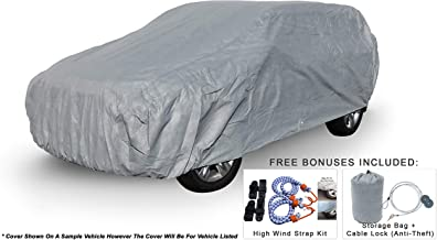 Weatherproof SUV Car Cover Compatible with Honda Pilot 2003-2015 - 5L Outdoor & Indoor - Protect from Rain, Snow, Hail, UV Rays, Sun - Fleece Lining - Anti-Theft Cable Lock, Bag & Wind Straps