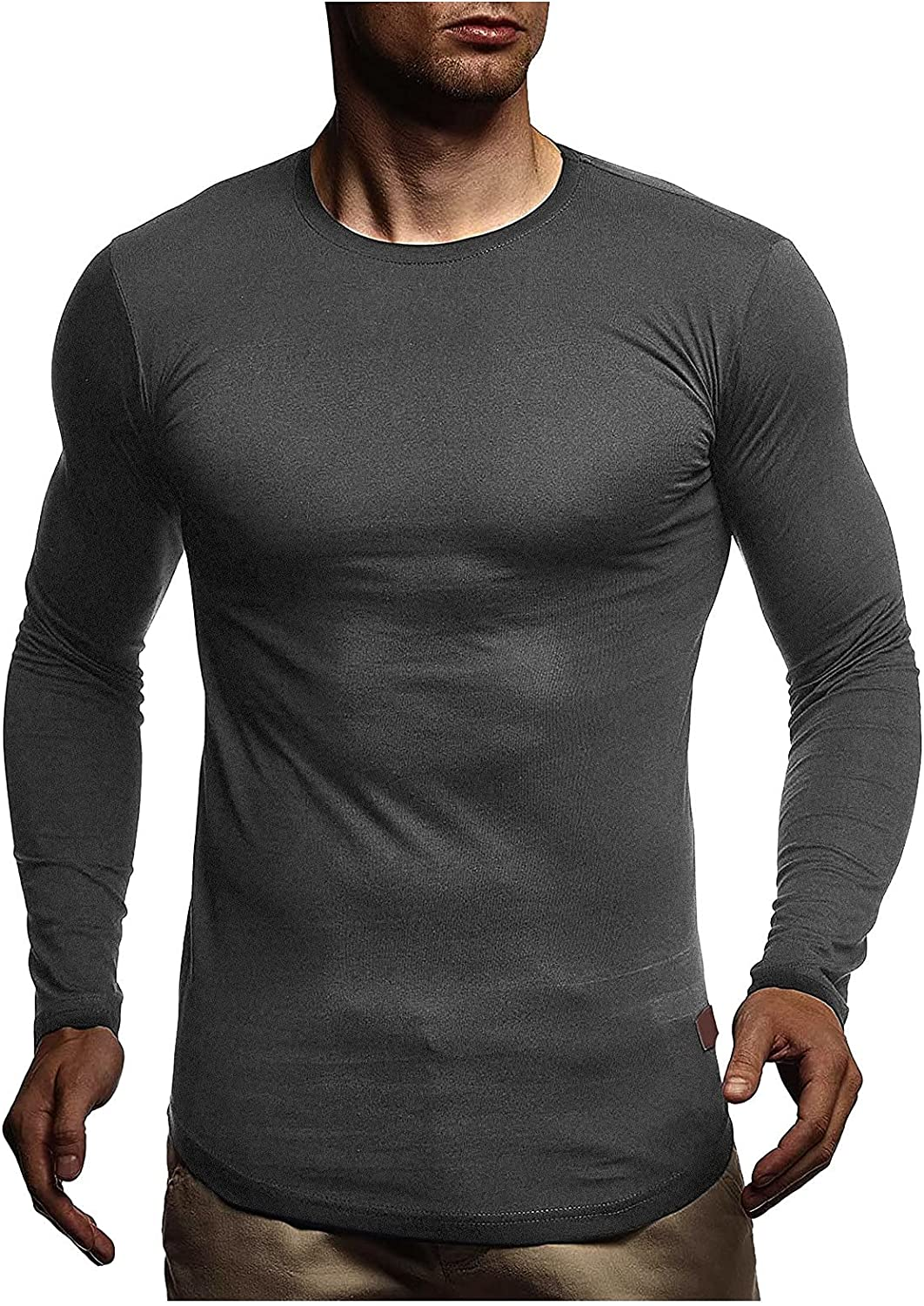 Huangse Mens Muscle Fitness T-Shirt Breathable Gym Workout Shirt Long Sleeve Slim Fit Bodybuilding Tee Shirt Hipster Shirts