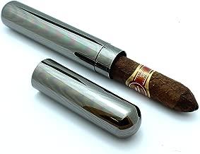 Stainless Steel Cigar Tube Travel Case Slip Cap - Gunmetal
