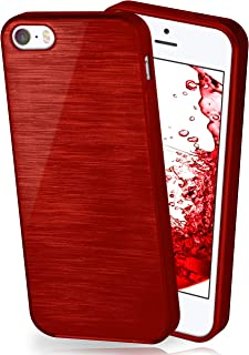 MoEx® Funda de Silicona con Aspecto Aluminio Cepillado Compatible con iPhone 5S / 5 / SE (2016) en Rouge Bordeaux