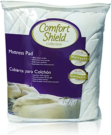Comfort Shield High Loft Quilted 100Percent Cotton Mattress Pad with Deep Expandable Knit Skirt 22 Inch