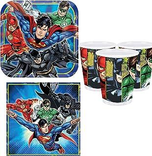 Boys Girls Birthday Party Celebration Paper 32pc Tableware Set Plates Cups Napkins Decorations Justice League Batman Superman Aquaman Flash Green Lantern (Tableware Set)